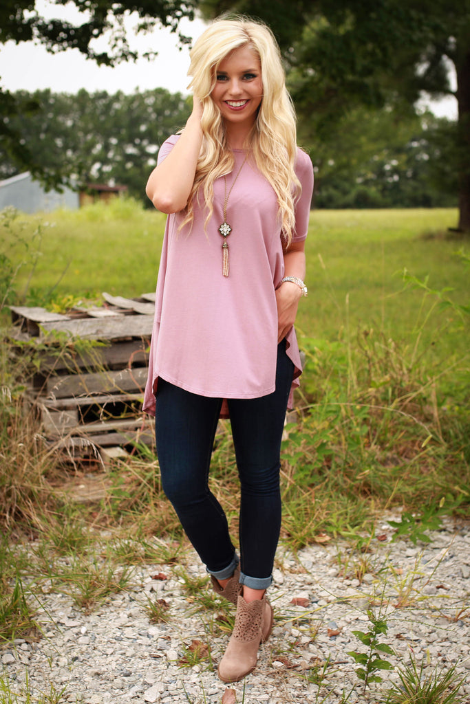 Work Hard Play Hard Shift Tee in Blush