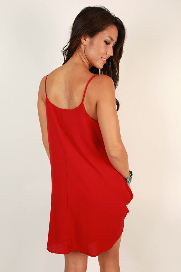 Stadium Chic Shift Dress in Crimson