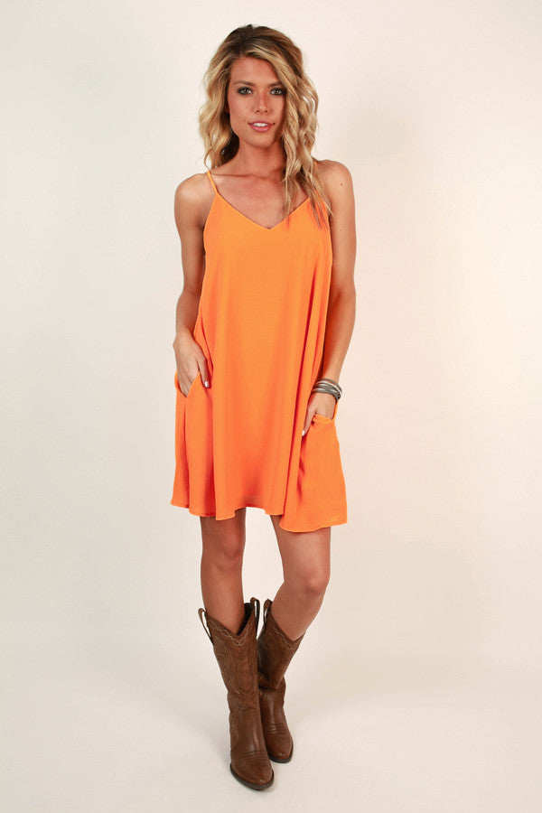 Stadium Chic Shift Dress in Apricot