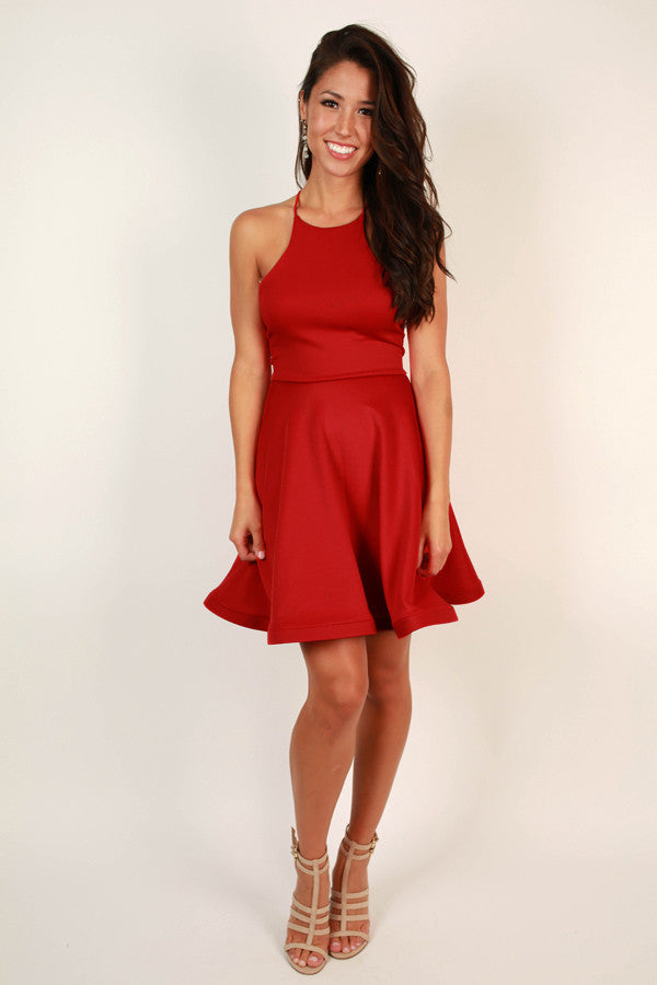 He Calls Me Darling Fit and Flare Dress in Red