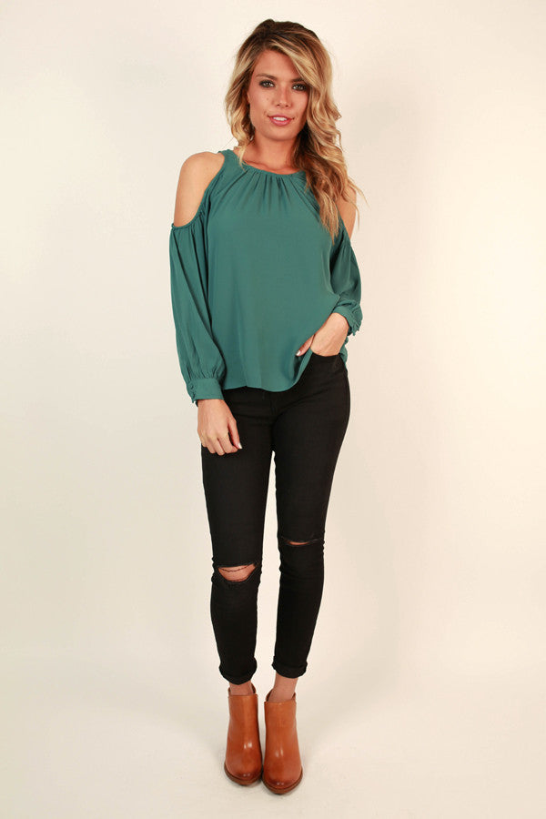Denver Date Night Cold Shoulder Top in Lush Meadow
