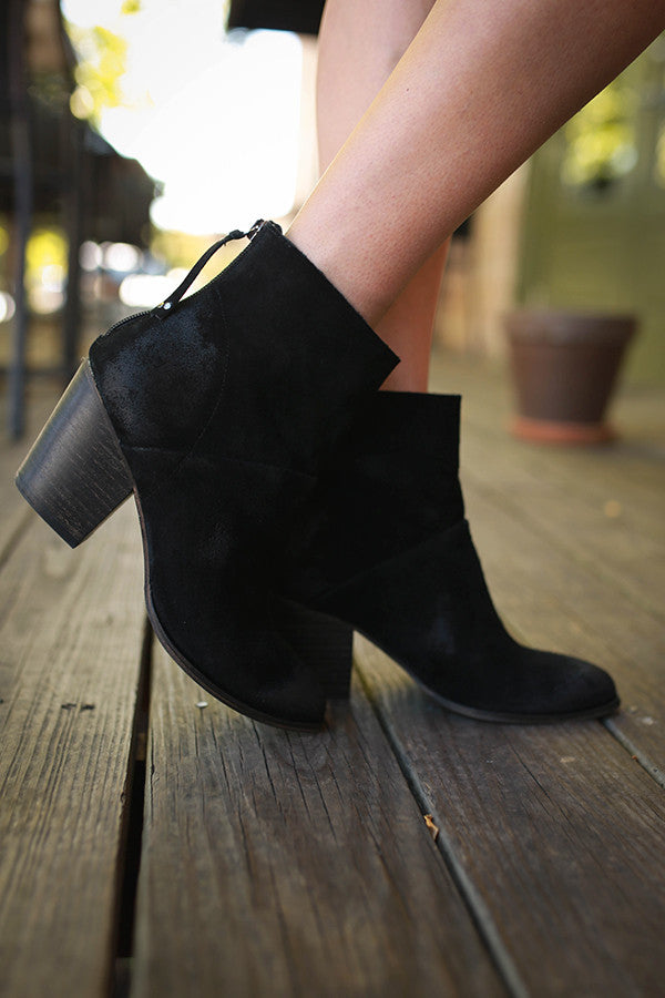 Kind Heart Suede Bootie in Black