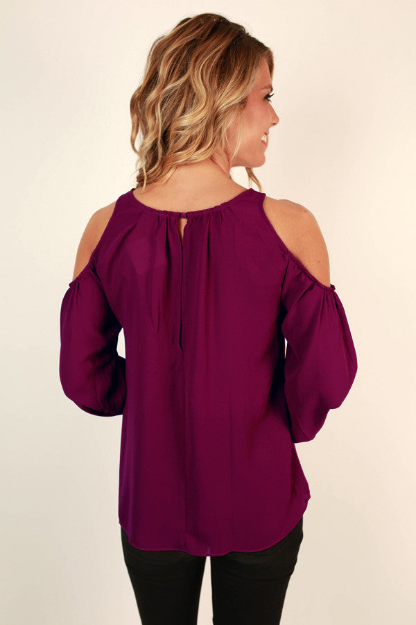 Denver Date Night Cold Shoulder Top in Vineyard Grape