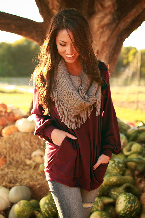 The Brooklyn Tunic Sweater in Merlot