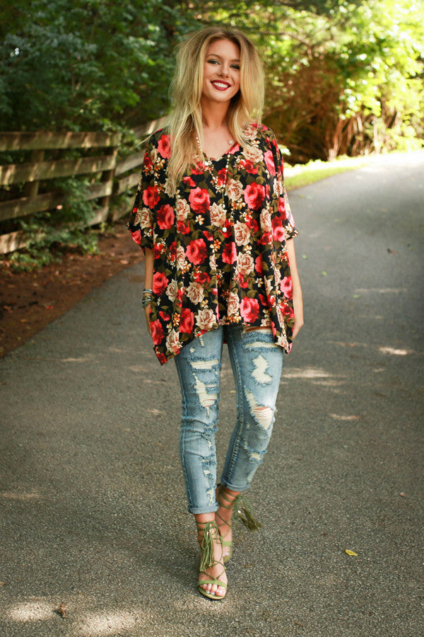 The Harper Tunic Sweater in Sonoma Floral