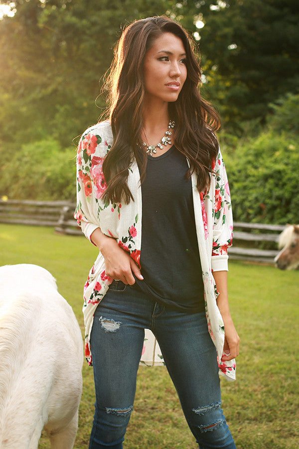 The Blakely Cardigan in Sunrise Floral