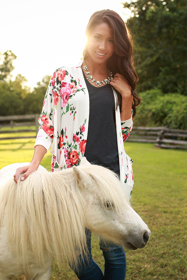 The Blakely Cardigan in Fireside Floral