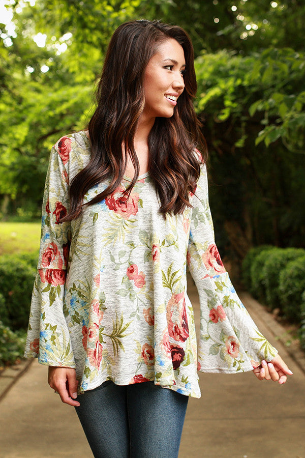 The Lively Tunic Sweater in Heather Honey Floral