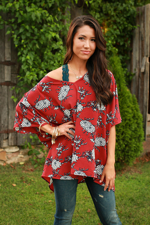 The Harper Tunic in Rocking Marsala Floral