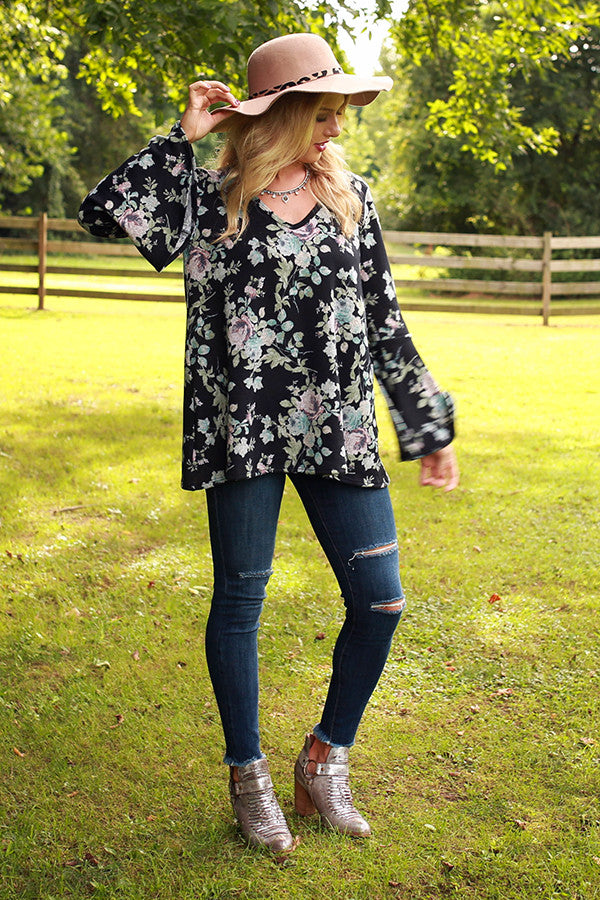 The Lively Tunic Sweater in Midnight Floral