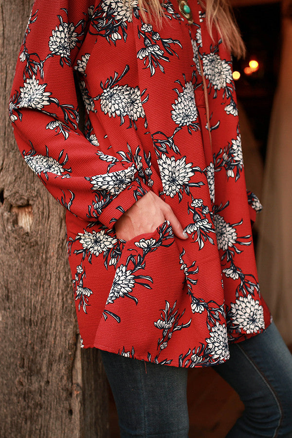 The Harlow Tunic in Rocking Marsala Floral