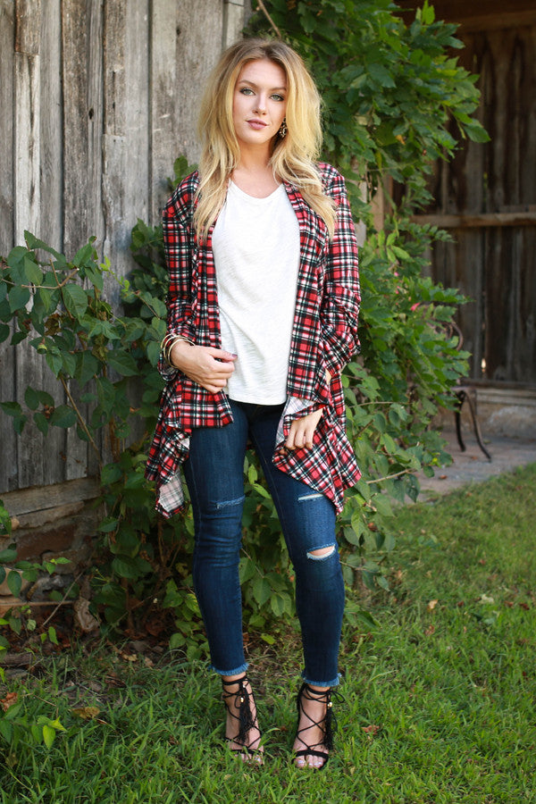 The Audrey Cardigan in Coffee Shop Plaid