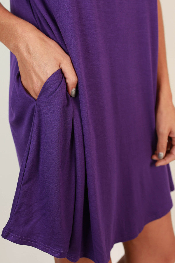 Saturday Night Lights Shift Dress In Purple