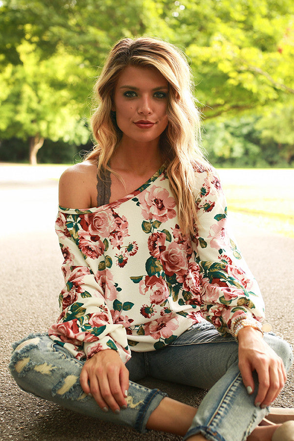 The Brooklyn Tunic in Ivory Romance Floral