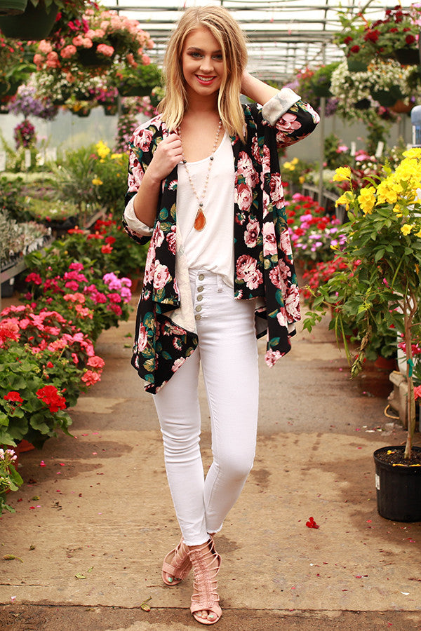 The Audrey Cardigan in Romance Floral