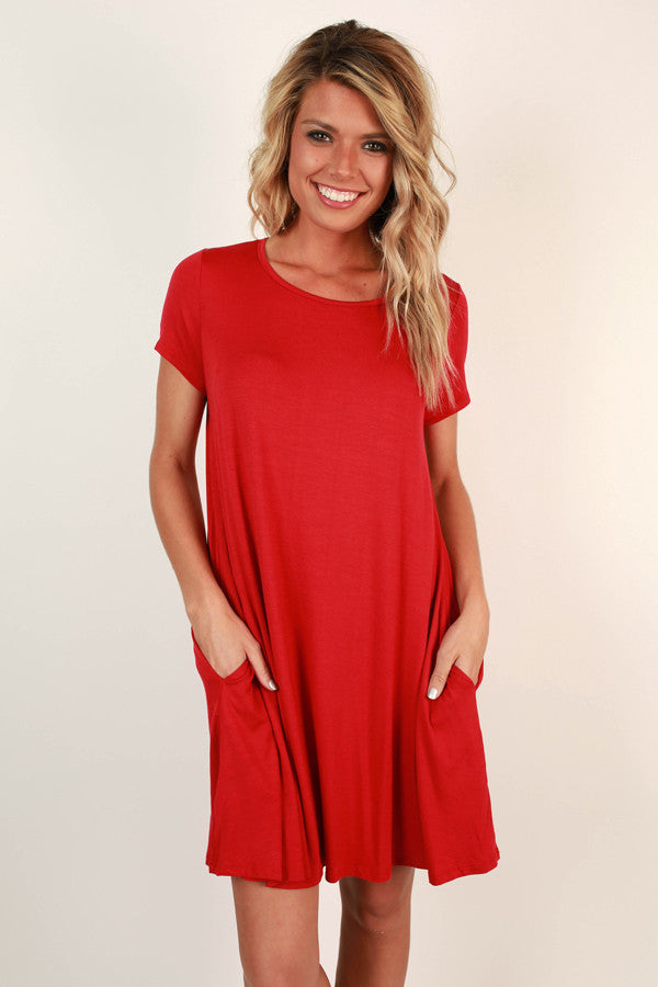 Saturday Night Lights Shift Dress In Crimson