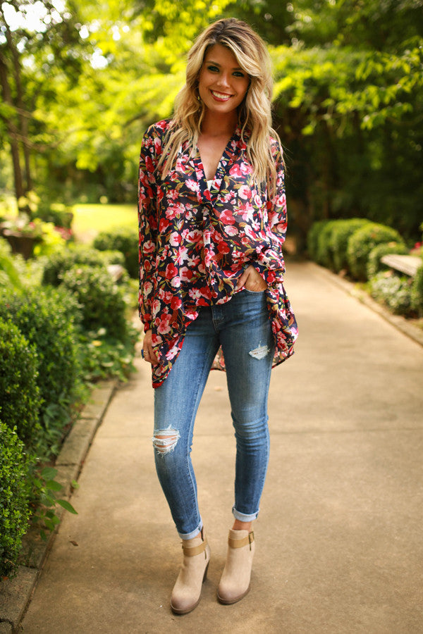 The Harlow Chiffon Tunic in Harvest Bloom