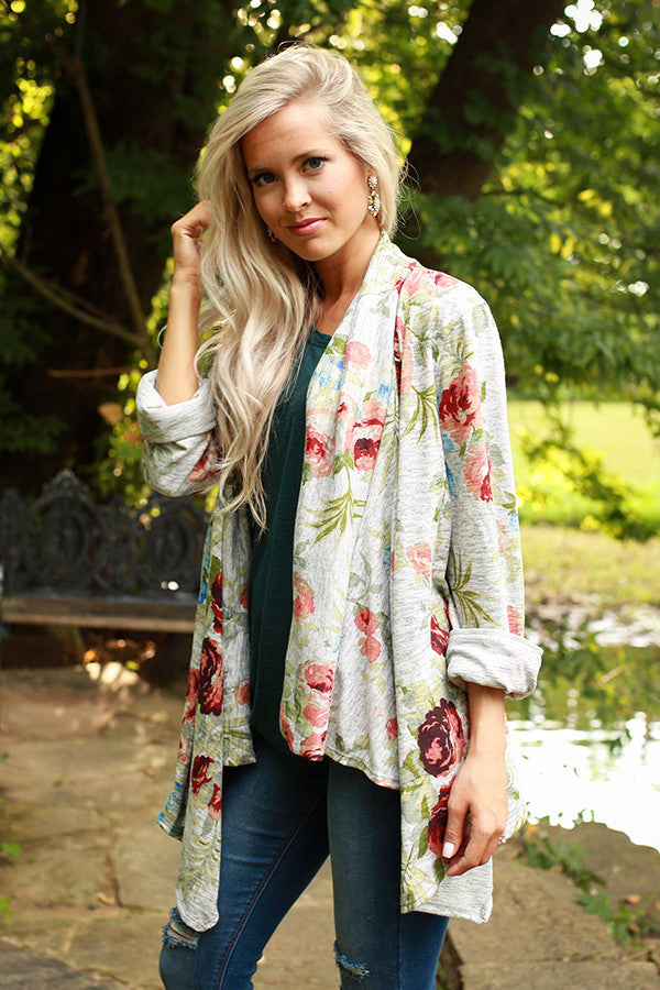 The Audrey Cardigan in Heather Honey Floral