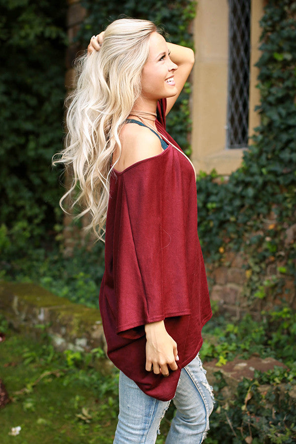 The Harper Tunic Sweater in Merlot