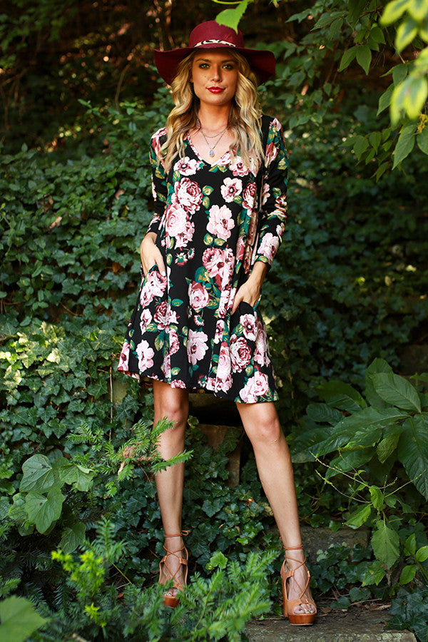 The Emma Long Sleeve Shift Dress in Aspen Floral