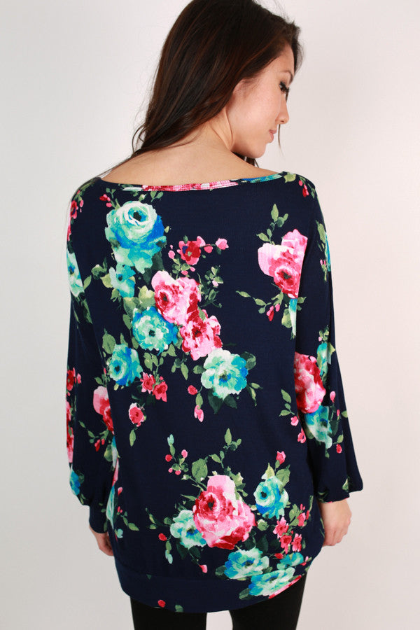 The Brooklyn Tunic in Midnight Fireside Floral