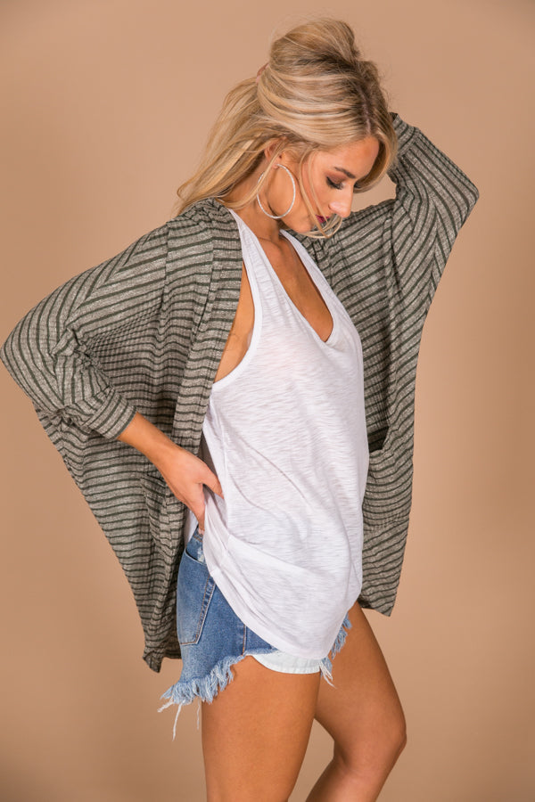The Blakely Cardigan in Tuscan Olive Stripe