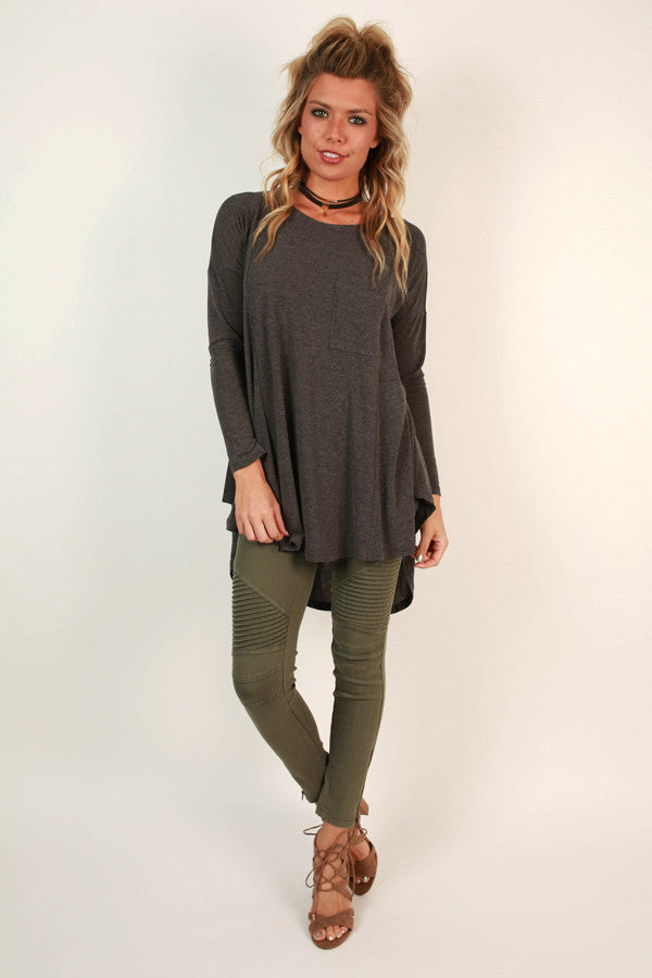 Pocket Full Of Sunshine Tunic Tee in Fog