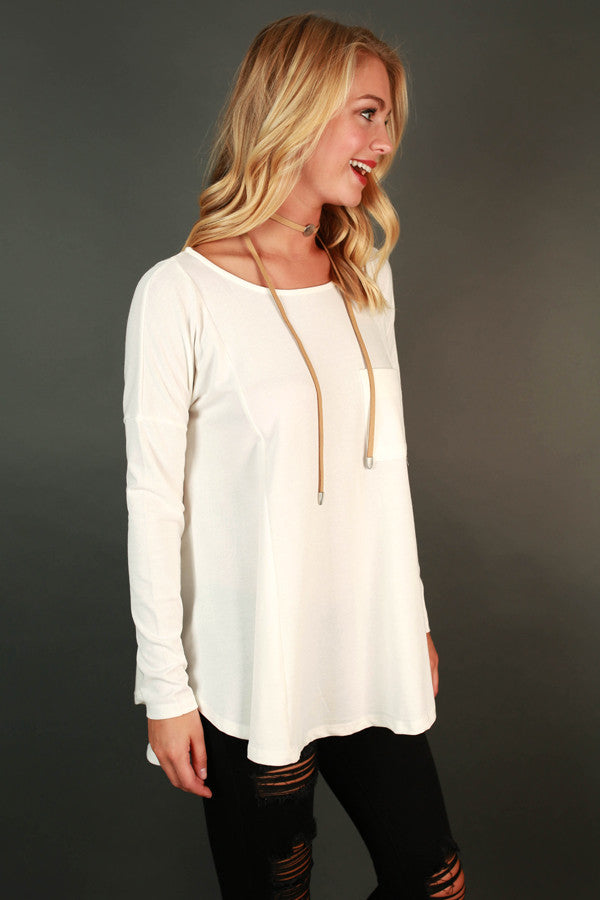 Pocket Full Of Sunshine Tunic Tee in Ivory