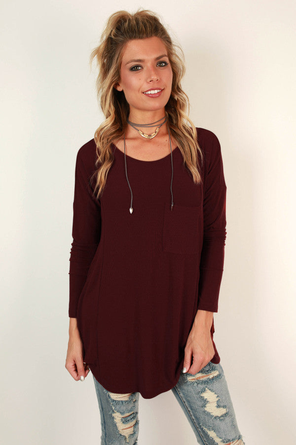 Pocket Full OF Sunshine Tunic Tee in Wine