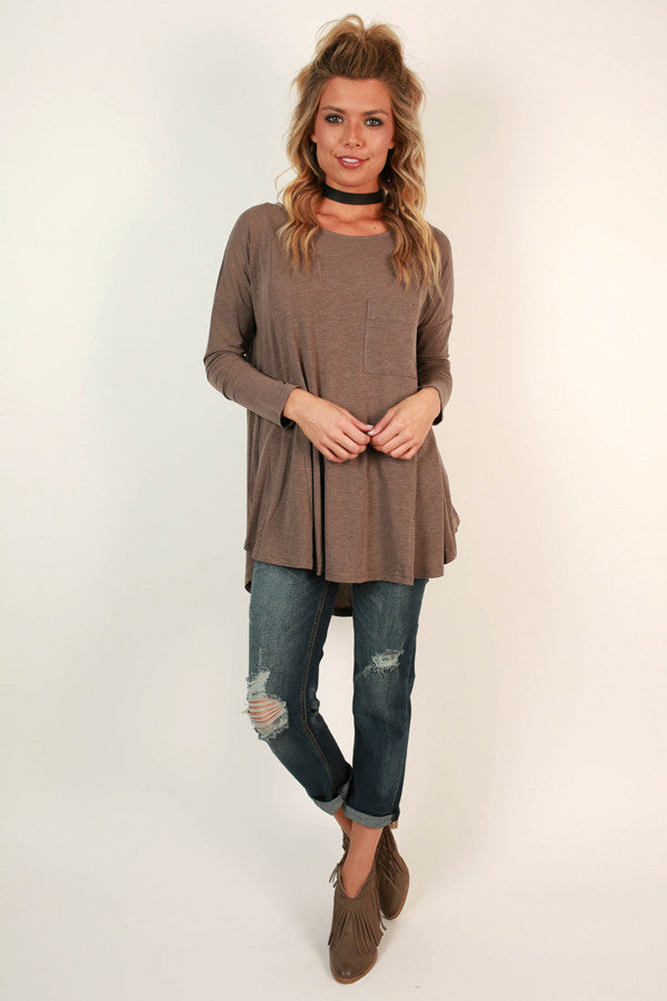 Pocket Full Of Sunshine Tunic Tee in Mocha