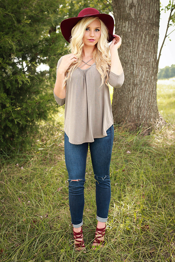 Total Adoration  Shift Top in Taupe