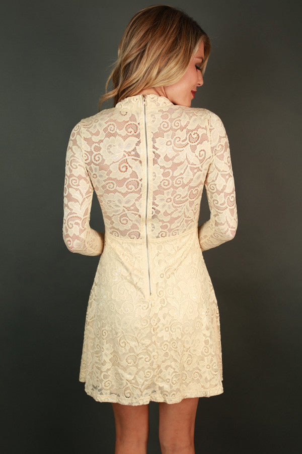 Put On the Glitz Lace Dress in Cream