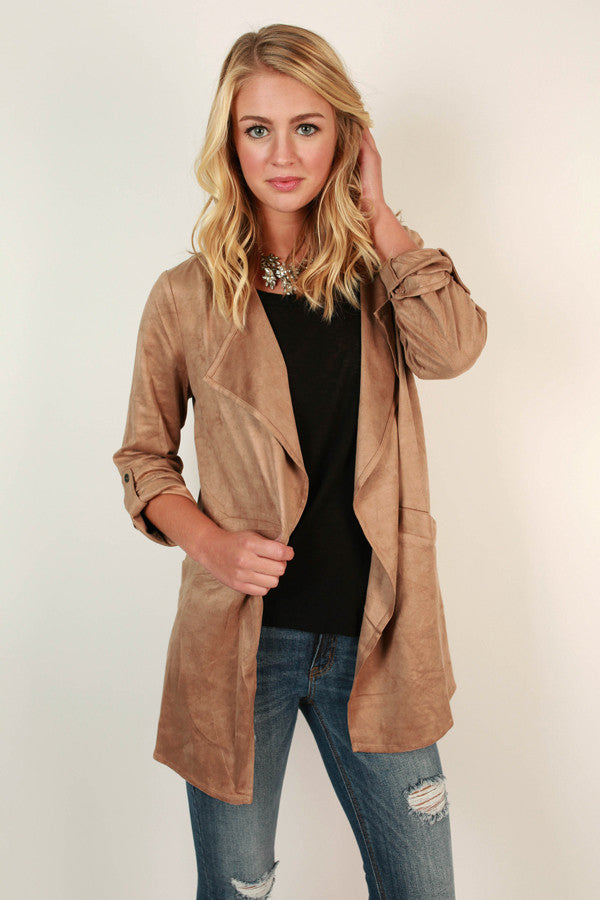 Get Down to Business Faux Suede Jacket in Tan