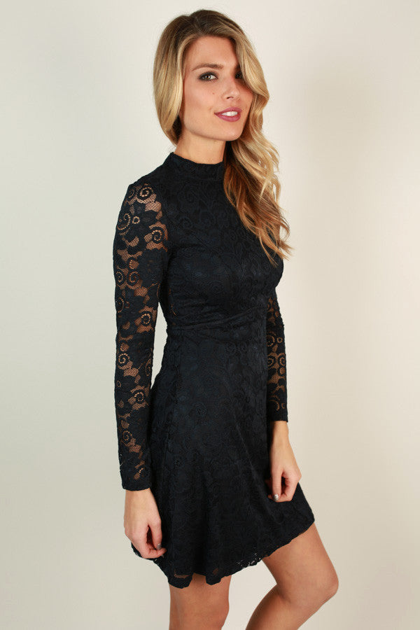 Put on the Glitz Lace Dress in Navy