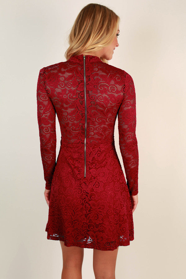 Put On The Glitz Lace Dress in Scarlet