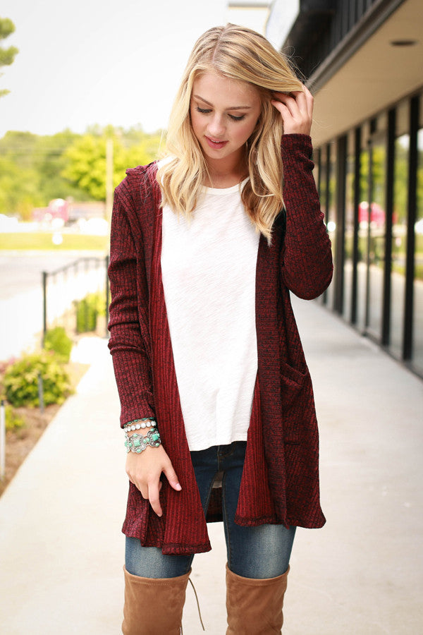 Sunday Comforts Cardi in Wine