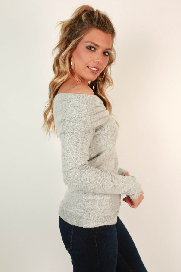 Never Leave My Side Off Shoulder Sweater In Grey