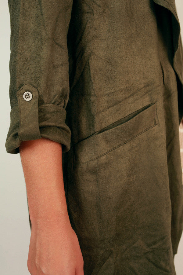 Get Down to Business Faux Suede Jacket In Army Green