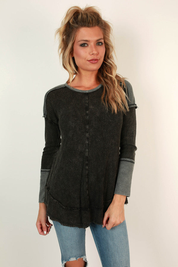 Forever Young Thermal Top in Black