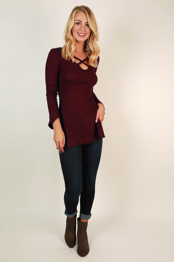 Criss Cross Crush Top in Maroon