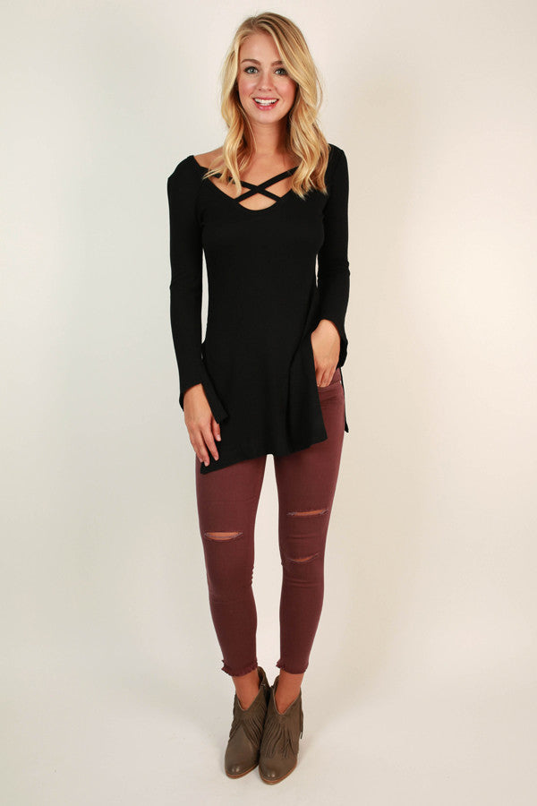 Criss Cross Crush Top in Black