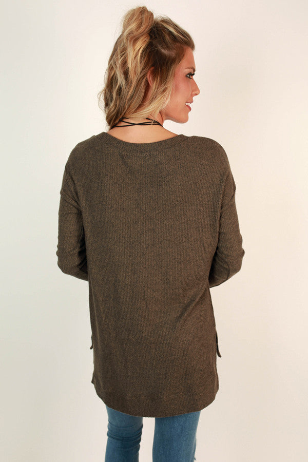Coffee Shop Love Sweater In Mocha