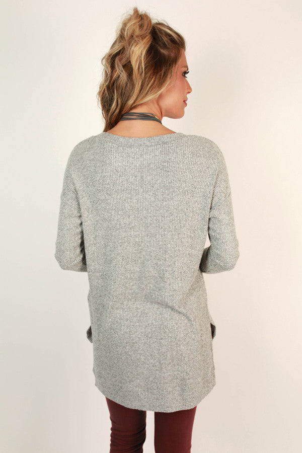Coffee Shop Love Sweater In Grey