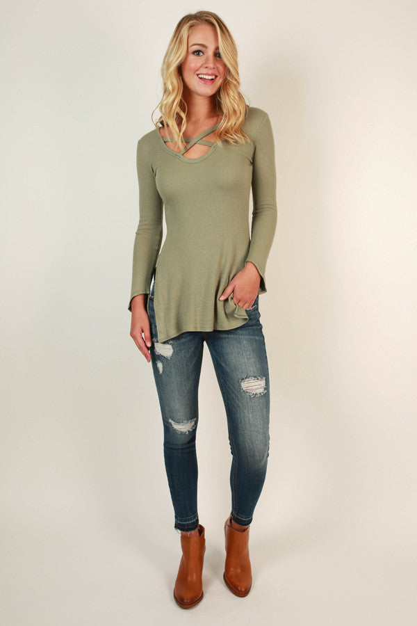 Criss Cross Crush Top in Pear