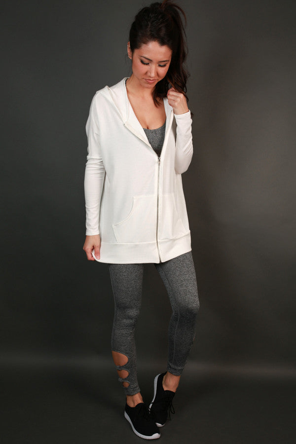 Chill Time Tunic Hoodie in White