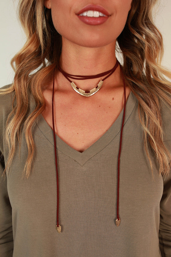 Charmer Choker Necklace in Wine