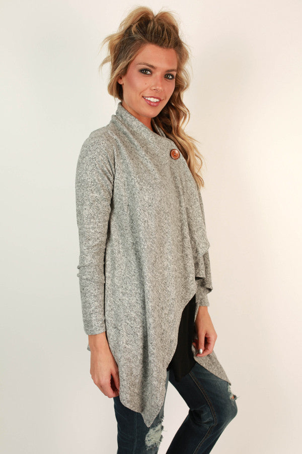 Button To Perfection Cardigan In Grey