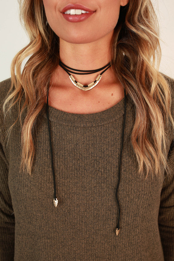 Charmer Choker Necklace in Black