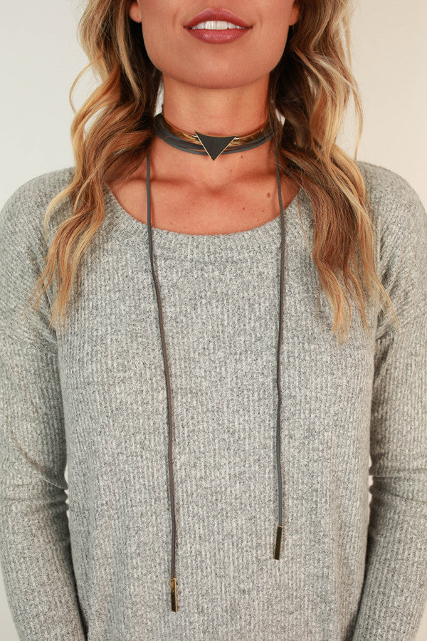 Love Triangle Choker Necklace in Dark Grey