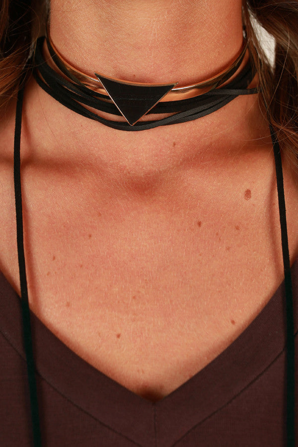 Love Triangle Choker Necklace in Black